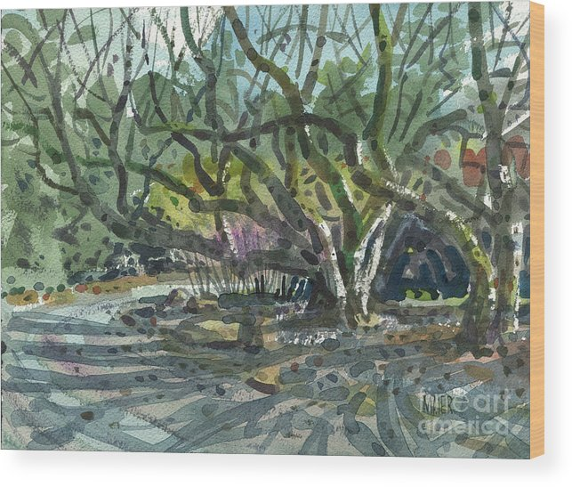 Monk Wood Print featuring the painting Monk Trees Two by Donald Maier