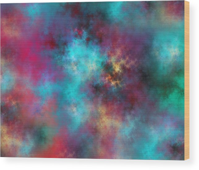 Fractal Wood Print featuring the digital art Night Sky by Betsy Knapp