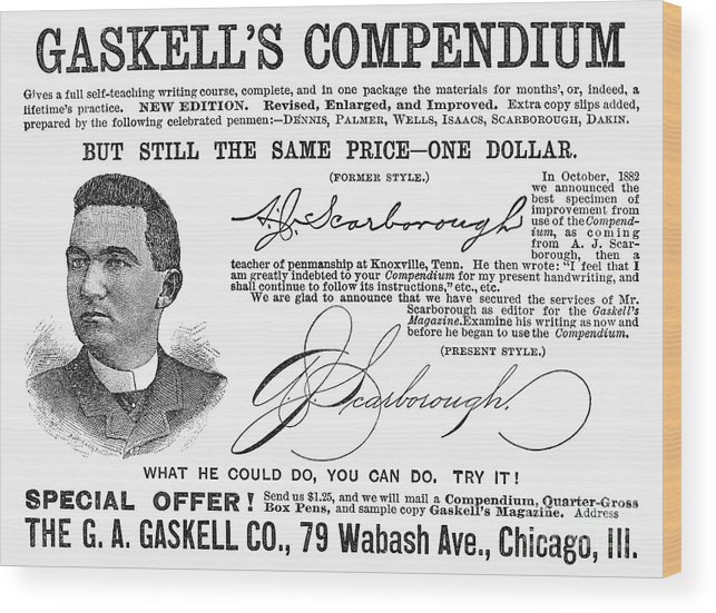 1887 Wood Print featuring the photograph Penmanship Ad, 1887 by Granger