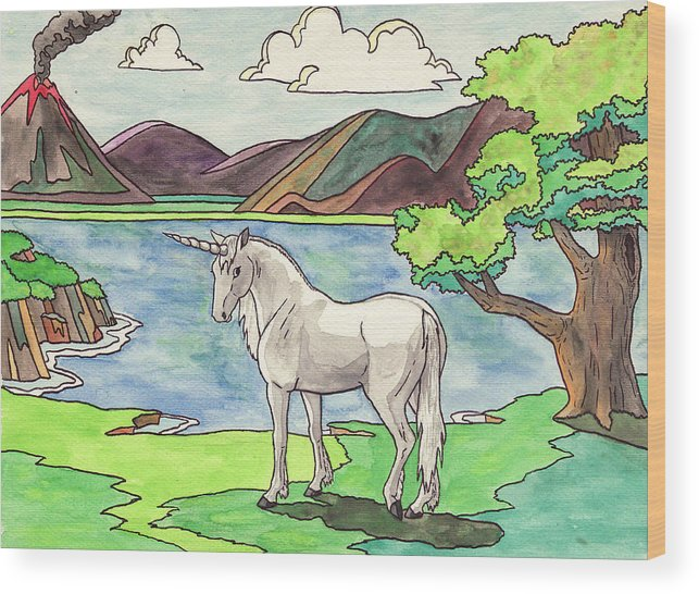 Unicorn Wood Print featuring the painting Prehistoric Unicorn by Crista Forest