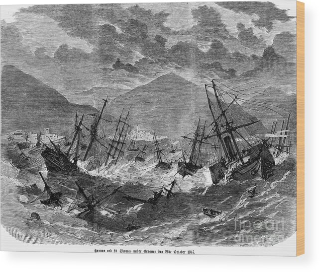 1867 Wood Print featuring the photograph St. Thomas: Hurricane, 1867 by Granger