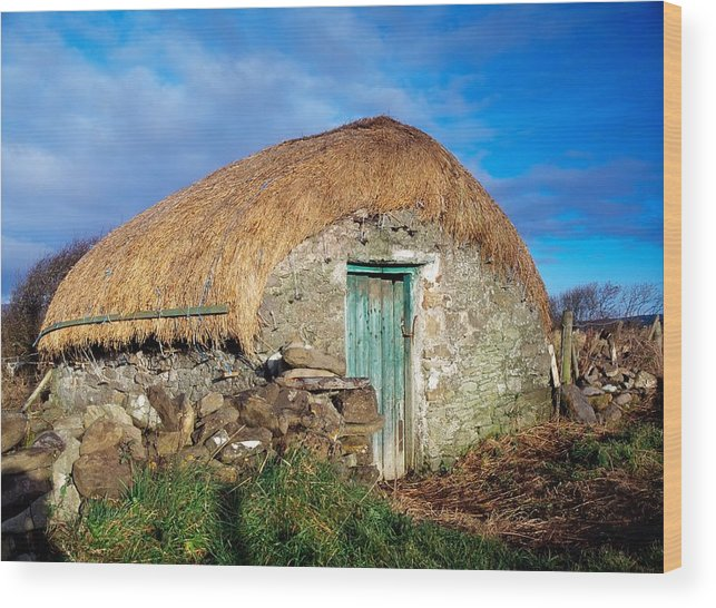 Architecture Wood Print featuring the photograph Thatched Shed, St Johns Point, Co by The Irish Image Collection
