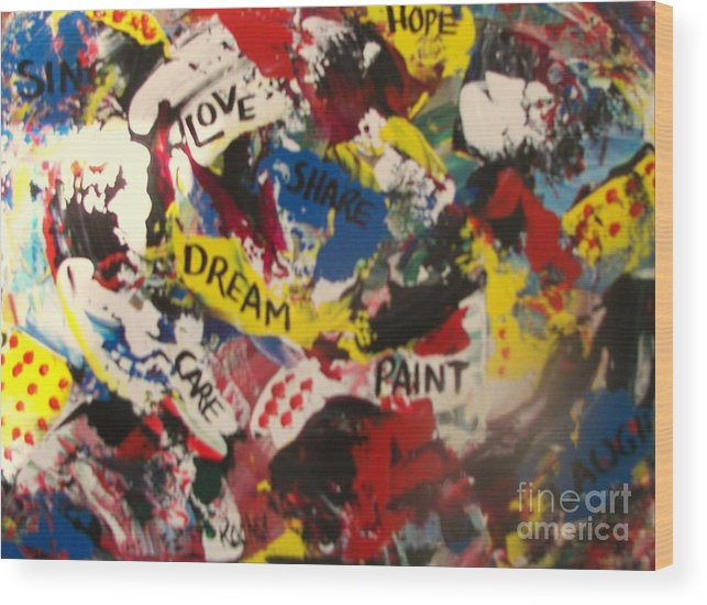Abstracts Wood Print featuring the painting Thoughts In Colour by Rachel Carmichael