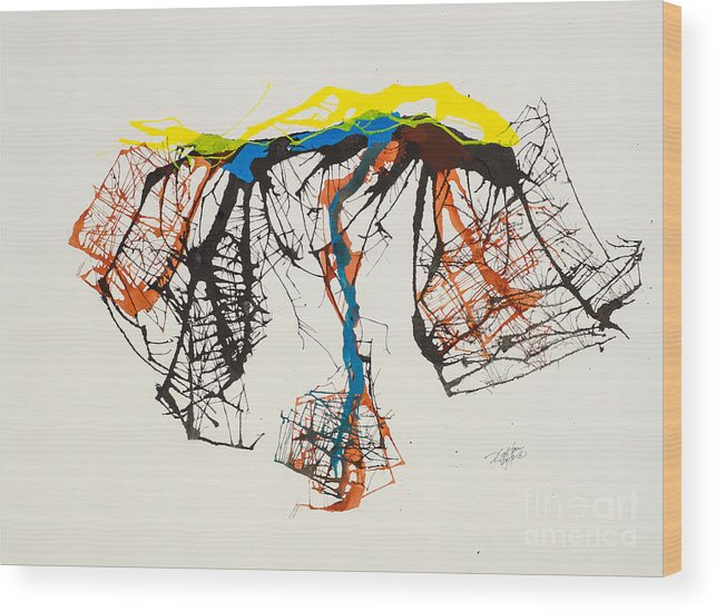 Abstract Wood Print featuring the painting Tinos Revisited 10 by David W Coffin