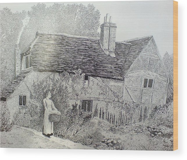 Cottage Wood Print featuring the drawing Washing Day by Andy Davis