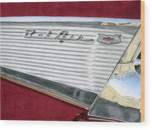 Classic Wood Print featuring the drawing 1957 Chevrolet Bel Air Convertible by Rob De Vries