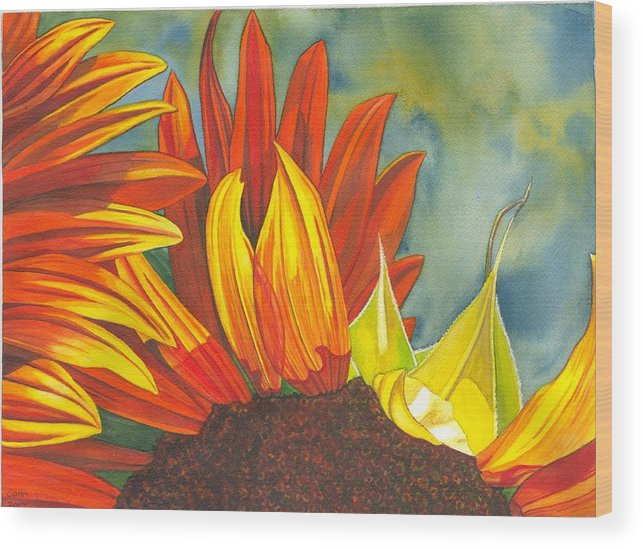 Sunflower Wood Print featuring the painting Ray by Catherine G McElroy