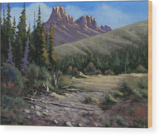 Landscape Wood Print featuring the painting 040610-912 Horse Thief Creek by Kenneth Shanika