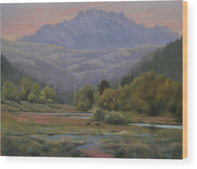 Landscape Wood Print featuring the painting 070815-1814  Evening Over Long Scraggy Mt. by Kenneth Shanika