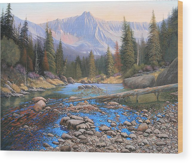 Rocky Mountain Landscape Wood Print featuring the painting 080503-4836 Late Summer Run-off by Kenneth Shanika