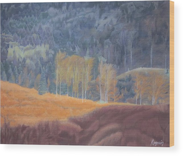 Landscape Wood Print featuring the pastel A Ray Of Sun by Harvey Rogosin