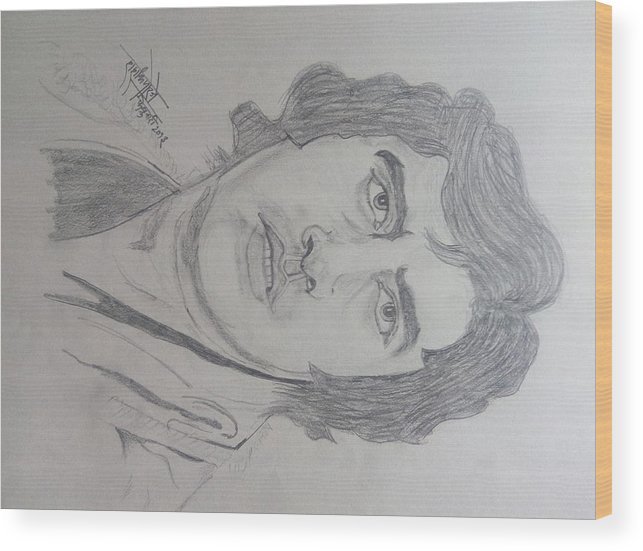 Amitabh Bacchan Wood Print featuring the drawing Amitabh Bacchan International Actor by Shashank Morje