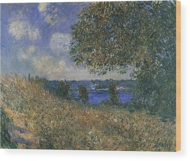 Banks Of The Seine At By Wood Print featuring the painting Banks Of The Seine by MotionAge Designs