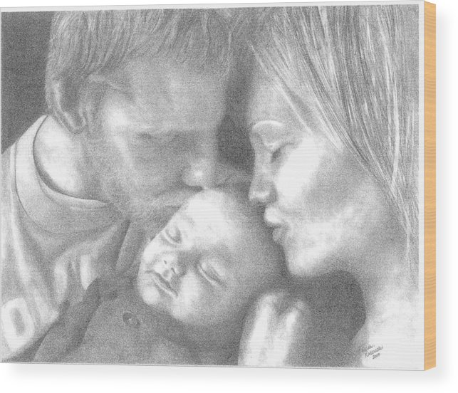 Graphite Wood Print featuring the drawing Cassiday Family 1 by Rhonda Rodericks