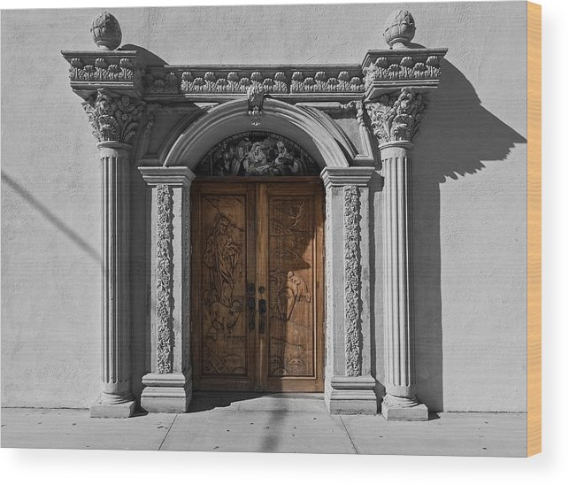 Texas Wood Print featuring the photograph Doorway Of The Santa Teresa De Jesus Church by Mountain Dreams