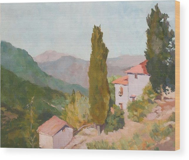 Landscape Wood Print featuring the painting Italian Villa by Fay Terry