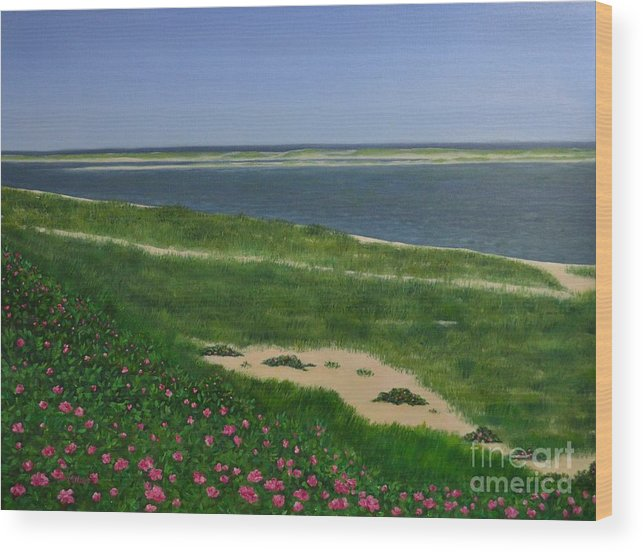 Light House Beach Wood Print featuring the painting Sea Roses by Michelle Welles