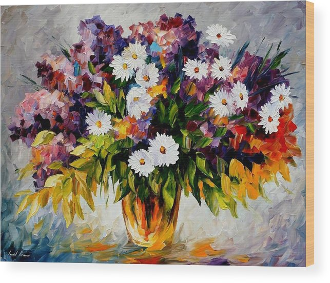 Afremov Wood Print featuring the painting Lilac And Camomiles by Leonid Afremov