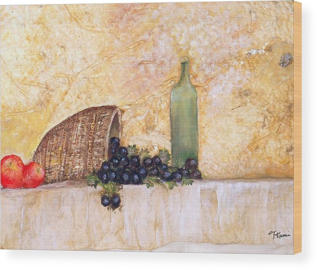 Tuscany Scene Wood Print featuring the painting Salute by Tinsu Kasai