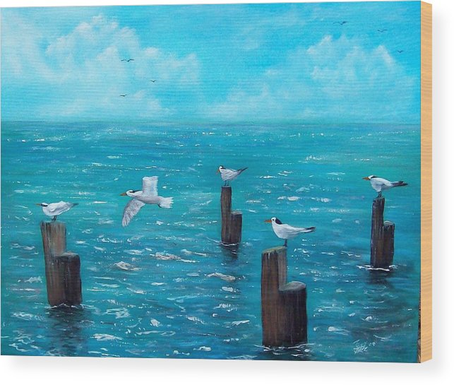 Seascape Wood Print featuring the painting Seagull Seascape by Tony Rodriguez