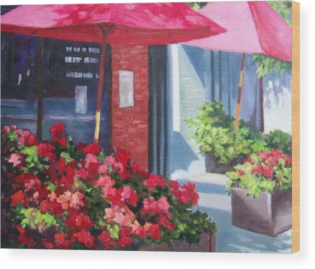 Cafe Wood Print featuring the painting Cafe In Red by Maralyn Miller