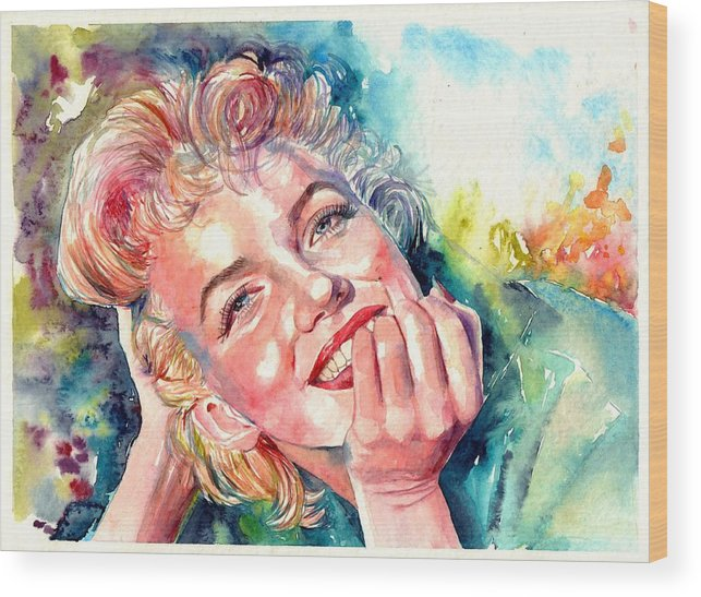 Marilyn Monroe Wood Print featuring the painting Marilyn Monroe Portrait by Suzann Sines