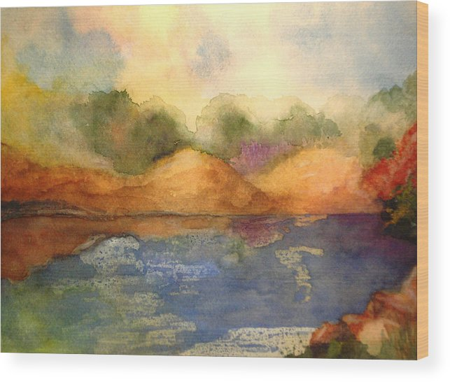Landscape Wood Print featuring the painting Whimsy by Vivian Mosley