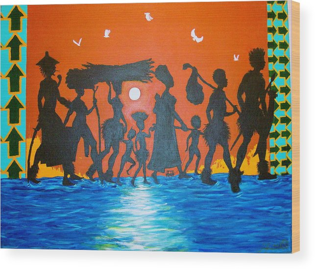 Malik Seneferu Wood Print featuring the painting Uhuru Series by Malik Seneferu