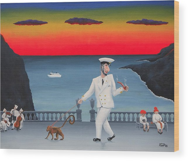 Landscape Captain Monkey Orchestra Jazz Childhood South Tropical Island Cruise Ship Wacation Resort Wood Print featuring the painting A Captain And His Monkey by Poul Costinsky