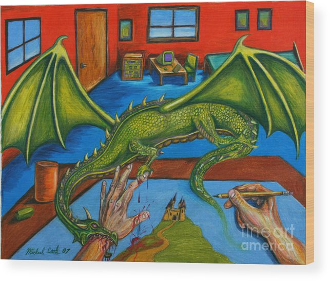 Dragon Fantasy Surreal Wood Print featuring the drawing A Drawing With Bite by Michael Cook