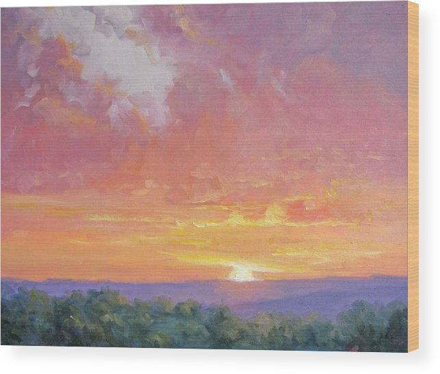 Sunrise Wood Print featuring the painting A New Dawn by Bunny Oliver