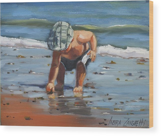 Seascape Wood Print featuring the painting A Southie Babe by Laura Lee Zanghetti