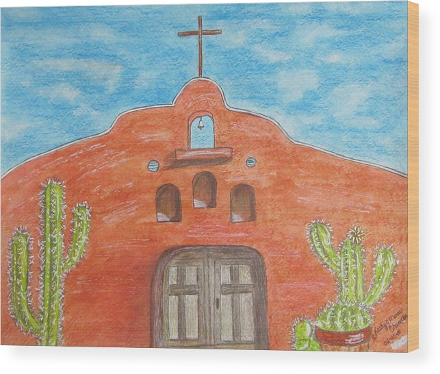 Adobe Wood Print featuring the painting Adobe Church And Cactus by Kathy Marrs Chandler