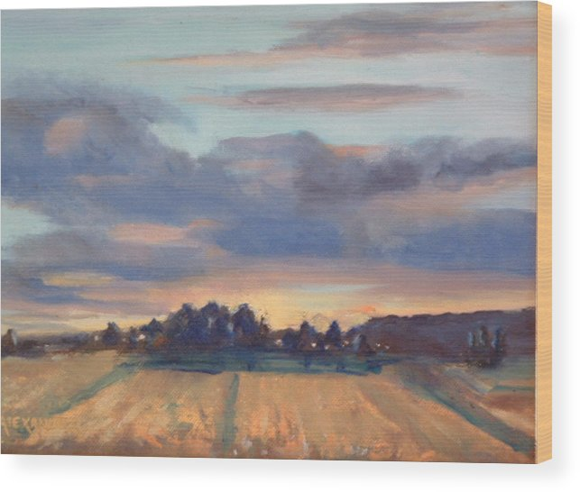 Landscape Wood Print featuring the painting After The Storm by Bryan Alexander