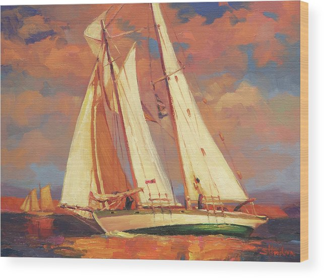 Sailboat Wood Print featuring the painting Al Fresco by Steve Henderson
