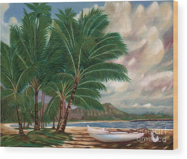 Hawaii Wood Print featuring the painting ala moana beach II by Larry Geyrozaga