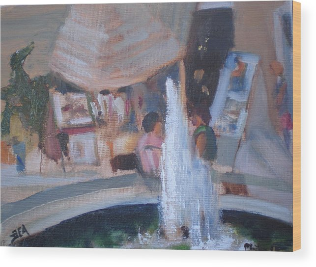 Carlsbad Village Fountain Wood Print featuring the painting Art Faire by Bryan Alexander