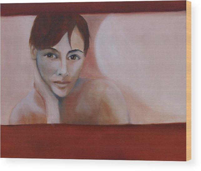 Portrait Wood Print featuring the painting Artist Self Portrait by Niki Sands