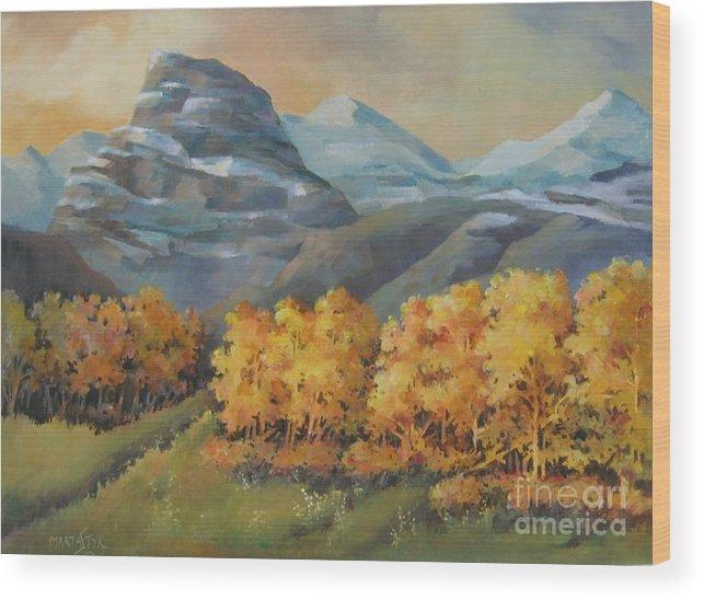 Landscape Wood Print featuring the painting Autumn At Kananaskis by Marta Styk