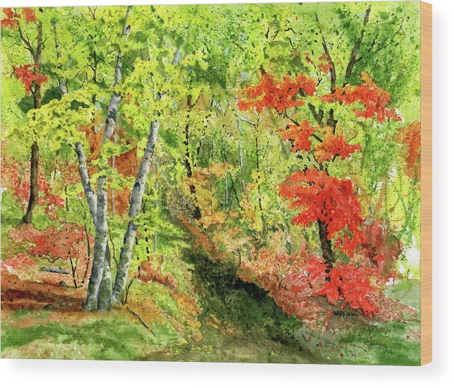 Autumn Wood Print featuring the painting Autumn Fun by Mary Tuomi