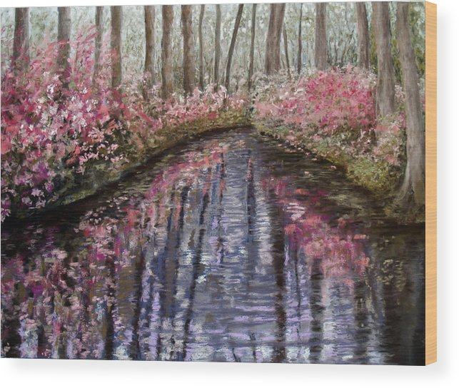 Landscape Wood Print featuring the painting Azalea River by Susan Jenkins