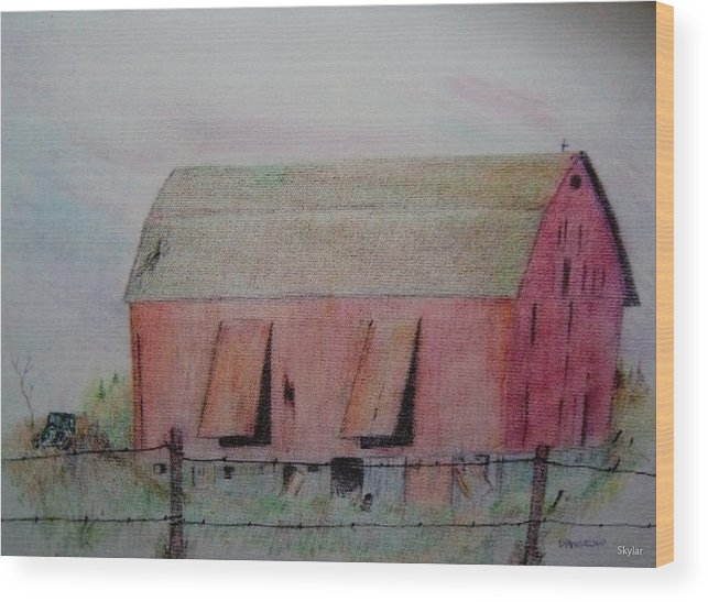 Barn Wood Print featuring the drawing Barn The Red by D Angelico