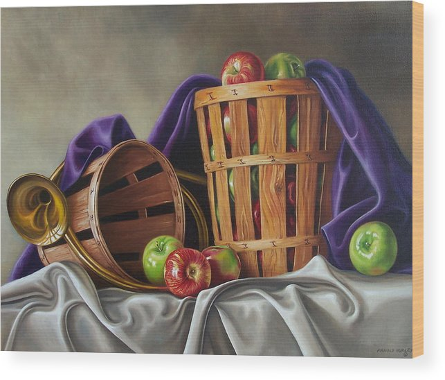 Still Life Wood Print featuring the painting Basket And Horn by Arnold Hurley