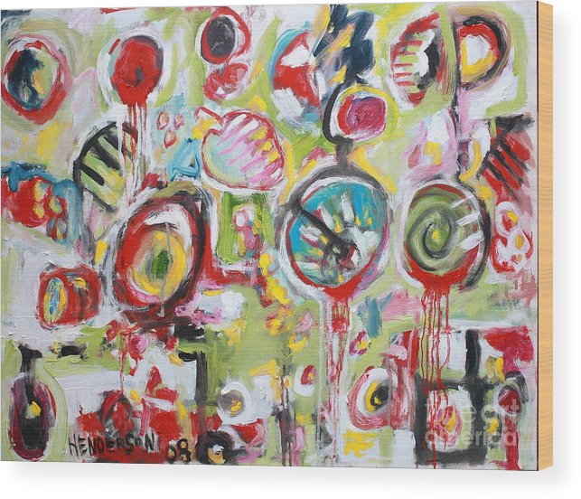 Abstract Painting Wood Print featuring the painting Basket Of Fruit by Michael Henderson