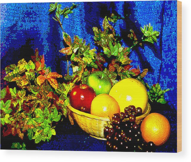 Fruit Wood Print featuring the photograph Basket With Fruit by Nancy Mueller