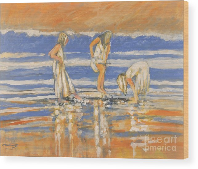 Girls Wood Print featuring the painting Beach Friends by Kip Decker