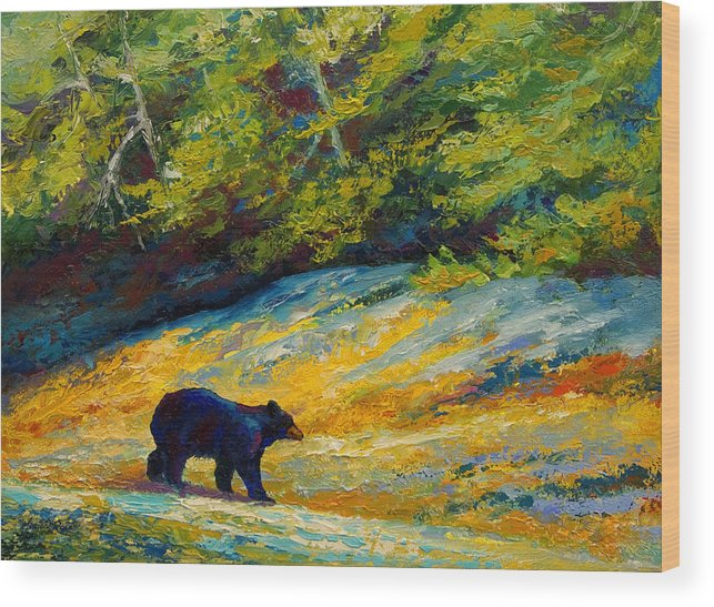 Bear Wood Print featuring the painting Beach Lunch - Black Bear by Marion Rose