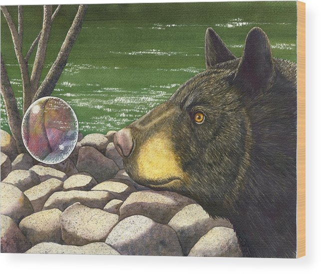 Black Bear Wood Print featuring the painting Bear Bubble by Catherine G McElroy