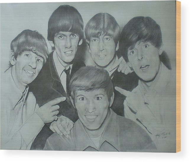 Beatles Wood Print featuring the drawing Beatles With A New Friend by Randy McFall