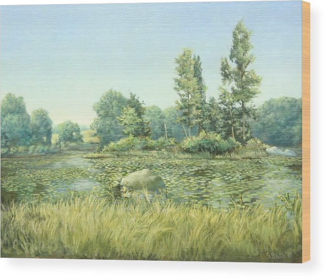 Landscape Wood Print featuring the painting Beavor Pond by Stephen Bluto